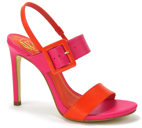 A colorful double strap, slingback sandal with a stiletto heel. Featuring an adjustable square buckle. In New Orleans at Shoe Be Do.
