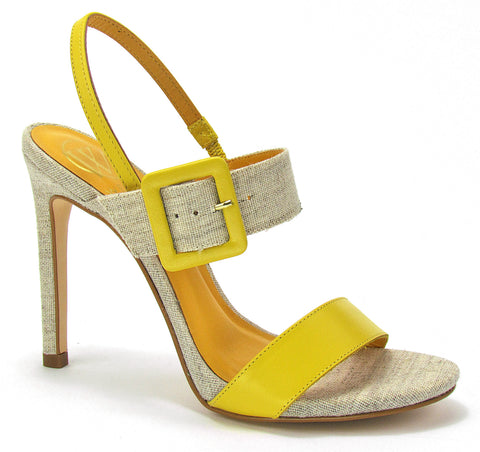 """Yellow says hello"" in the fabulous, yellow and natural toned, open-toe, double strap, slingback sandals with a stiletto heel. Featuring a mod inspired, square adjustable buckle."