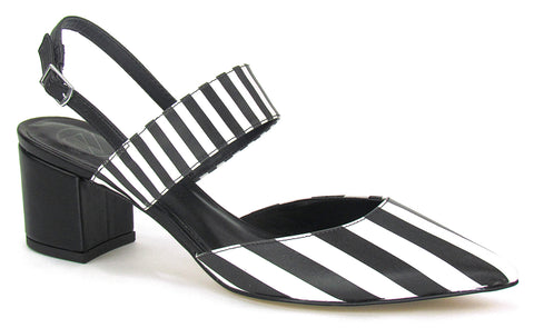A pointed, closed-toe, slingback low heel in black and white horizontal stripes. In New Orleans at Shoe Be Do.
