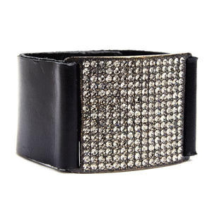 Gina Riley Square Crystal Pave Leather Bracelet