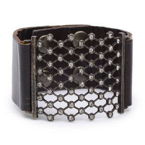 Gina Riley Crystal Mesh Leather Bracelet