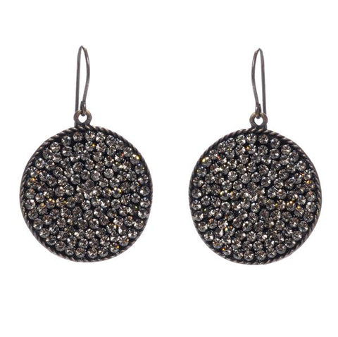 Rebel medium round disc crystal pave earrings. Antique brass finish with black diamond Swarovski crystals. Handmade in New York.