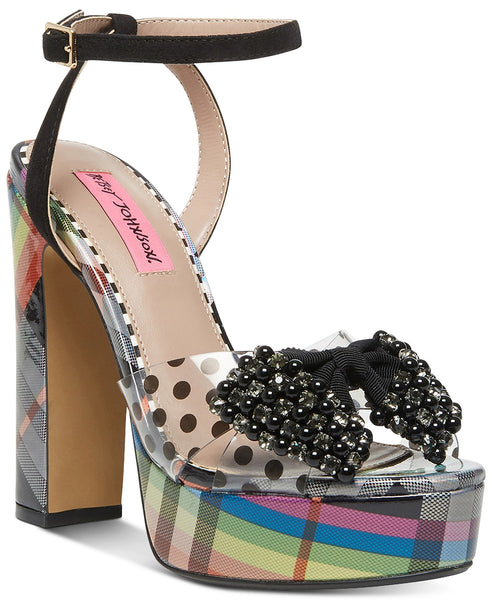 a betsey johnson platform, open-toe, sandal heel with an ankle strap and bow embellishment at shoe be do in new orleans, la.