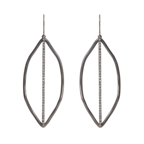Gina Riley Leaf with Crystal Line Earrings Y4