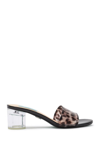 a betsey johnson leopard mule with a shiny finish and a clear pillar heel at shoe be do in new orleans,la