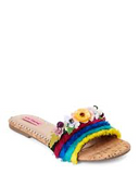 a betsey johnson slide with a  fabric upper, open toe, tiered ruffle detailing, floral trim with rhinestone accents at shoe be do in New Orleans,la