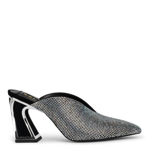 A Kat Maconie mid heel closed-toe mule. Entirely embellished with silver-toned crystals, a black signature slanted block heel outlined in mirror silver at Shoe Be Do in New Orleans,la.