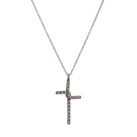 Gina Riley Small Crystal Cross Necklace Y7