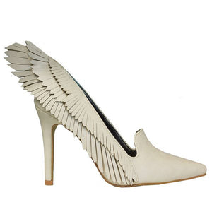 A High heel(4inch), bone white vegan leather with wing design along the side of the heel and a bone white lining. At Shoe Be Do in New Orleans,la.