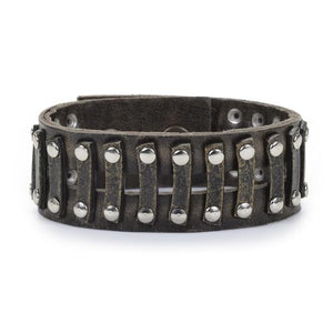 Rebel small studded railroad leather bracelet. Antique brass finish, Italian vintage brown leather. Adjustable snap closure. Genuine leather. Handmade in New York.