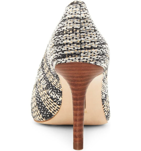 A Louise et Cie, point- toe, mid-heel, pump. Covered in black, white, & cream stitched fabric at shoe Be Do in New Orleans,la.