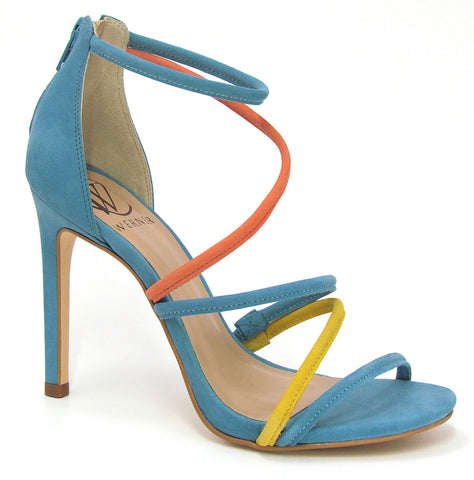A, simple, strappy stiletto heel with two contrasting colors to make it pop,pop,pop! In New Orleans at Shoe Be Do.