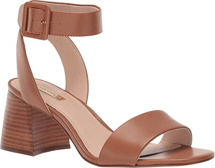 A Louise et Cie, Hazelnut colored ankle strap sandal, open-toe with a mid height block heel. At Shoe Be Do in New Orleans,la.