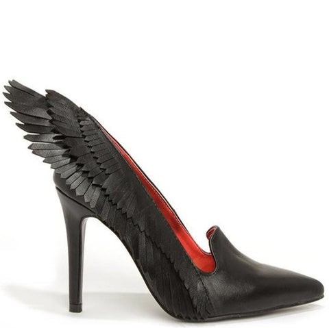 A High heel(4inch), black vegan leather with wing design along the side of the heel and a red satin lining. At Shoe Be Do in New Orleans,la.