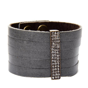 Gina Riley Small Pave Crystal Bar Leather Bracelet Y2