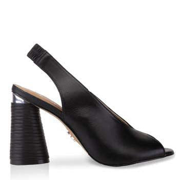 a cerrano, open-toe, black, high chunky heel wrapped in genuine leather with a matte black finish and a silver accent and a elastic back to secure heel at shoe be do in new orleans,la
