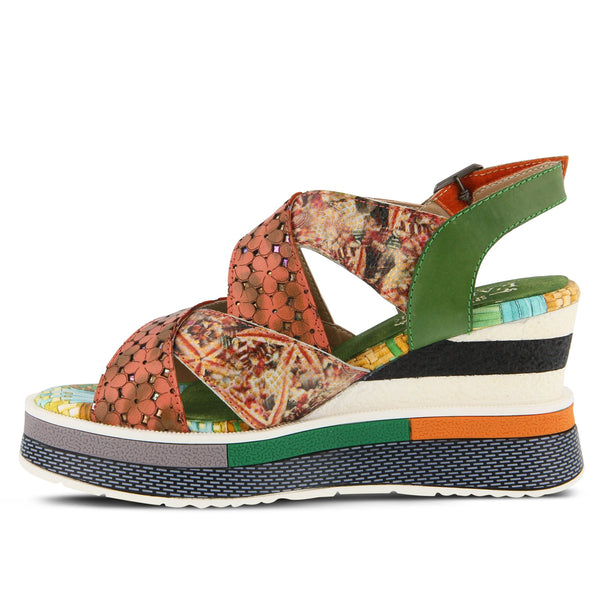A Spring Step, French inspired, hand-painted and printed leather platform sandal feathering laser floral etching and cutouts on a printed and painted platform wedge. At Shoe Be Do in New Orleans,la