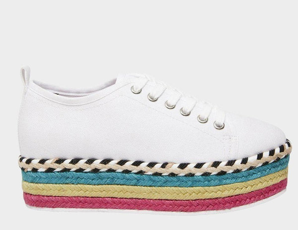 A Betsey Johnson multi-color espadrille platform sneaker at Shoe Be Do in New Orleans,la