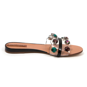 A slide with a clear upper, embellished in multi-colored jewels. In New Orleans at Shoe Be Do.
