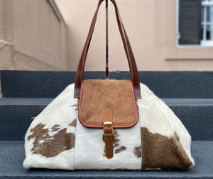 Charlie's Leather Large Pony Hair Satchel Brown & White Cow/Brown Combo