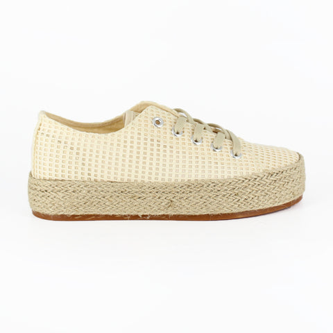 A natural colored mesh , round toe, lace-up sneaker with a lightly padded foot bed and natural toned sole. At Shoe Be Do in New Orleans,la.