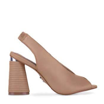 a cerrano, open-toe, taupe, high chunky heel wrapped in genuine leather with a matte taupe finish and a silver accent and a elastic back to secure heel at shoe be do in new orleans,la