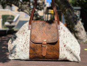 Charlie's Leather Large Pony Hair Satchel White with Brown Spots/Brown Combo