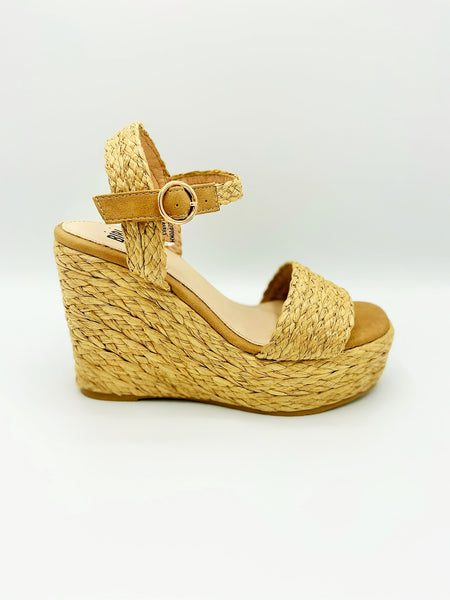 Completely wrapped in  jute, a cute fun in the SUN-mmer ready wedge. In New Orleans at Shoe Be Do.