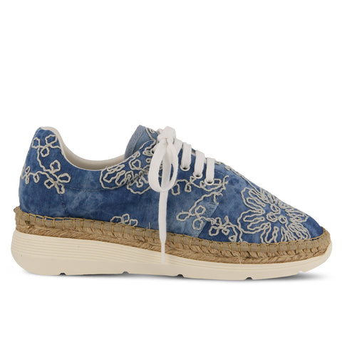 A Spring Step, mid-sole, espadrille sneaker. Made in Spain with a round toe and a tropical textile print. At Shoe Be Do in New Orleans,la