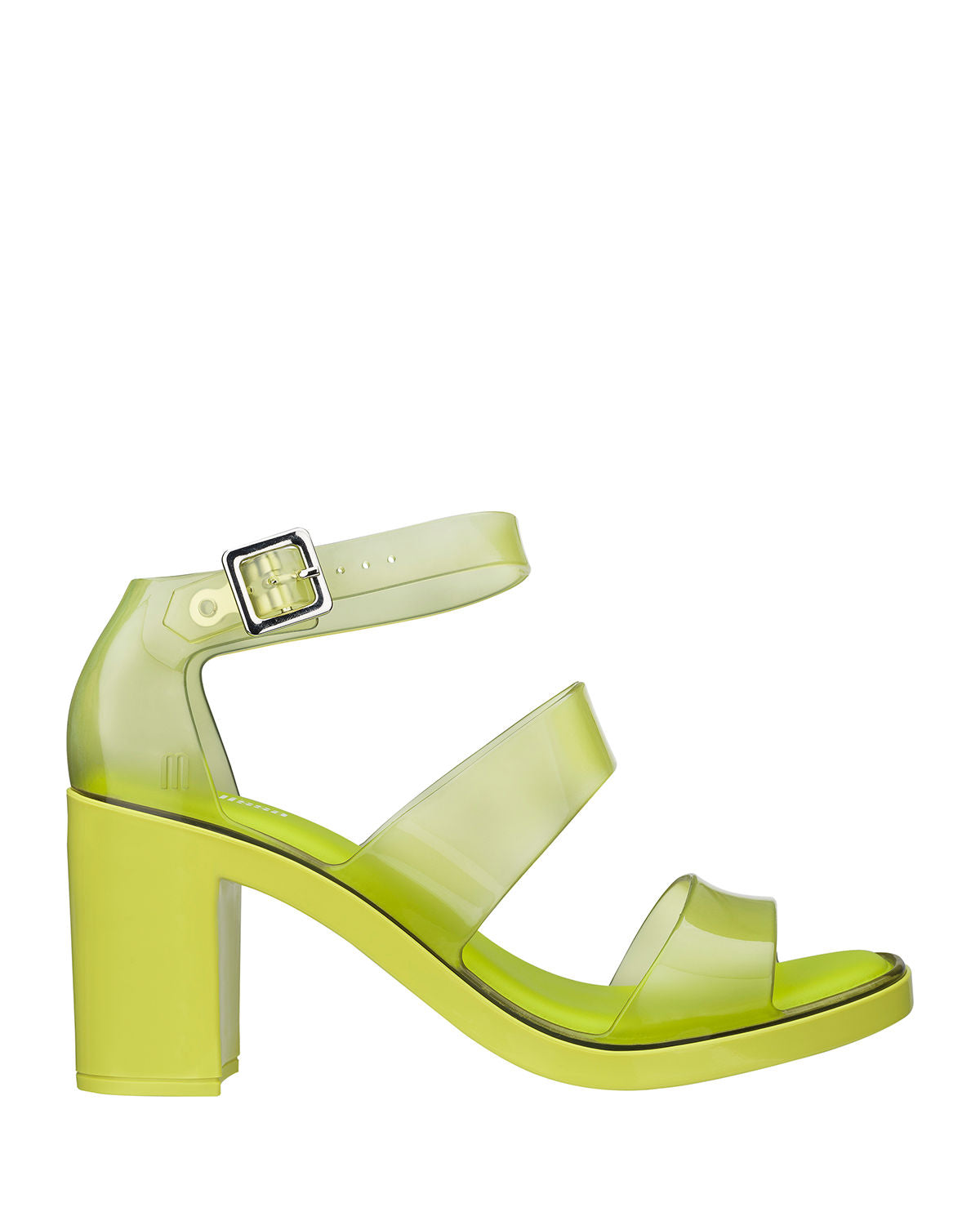 This translucent lime sandal features a chunky block heel and two 100% recyclable plastic straps and an adjustable ankle strap..At Shoe Be Do in New Orleans,la.