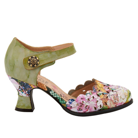 French inspired, hand-painted leather and vibrant floral printed leather featuring dainty scalloped edges,floral laser etching and cutout design and an adjustable hook and loop ankle strap with a decorative brushed metal ornament all on a leather-wrapped, architectural, comfort heel. At Shoe Be Do in New Orleans,la.