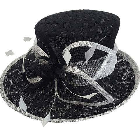 Swan Hats Lace Covered Derby Hat