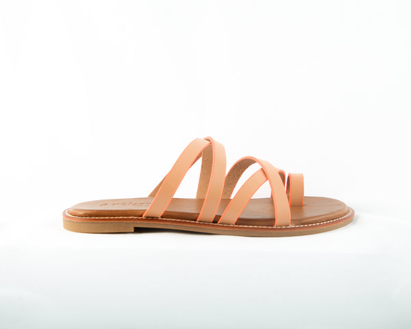 A fun, strappy boho chic summer /spring sandal/slide. Featuring an interesting that works color pallet of camel, lined in orange soda.  In New Orleans at Shoe Be Do.
