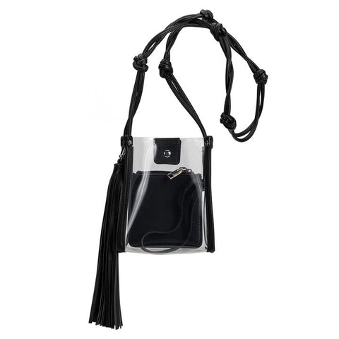 a clear cross-body with a mini clutch inside made out of luxury vegan leather. Features a knotted a handle, adorned with a tassel. At Shoe Be Do in New Orleans,la.