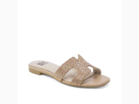 Add that final touch to an ensemble that brings it all together in these gorgeous stone encrusted, H-cut slides.