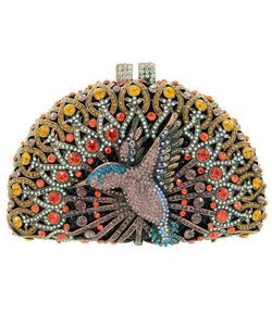 INS Crystal Embellished Hummingbird Evening Clutch H014