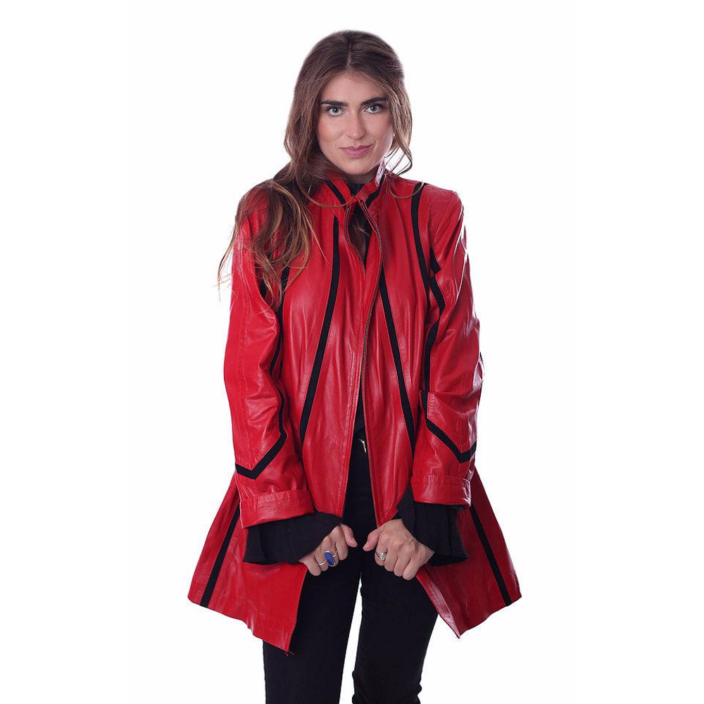 Zeyzani Red Lambskin Swing Jacket PLF198