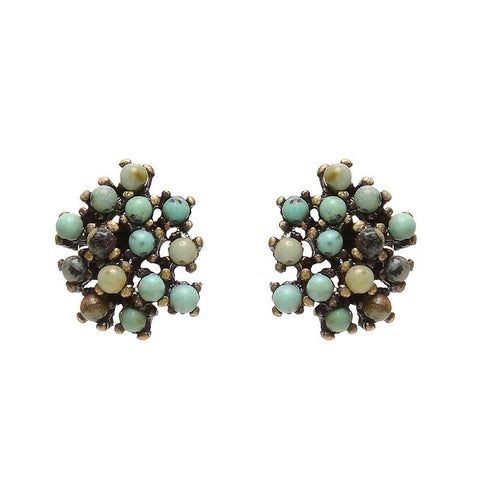 Rebel cluster stud earrings. Antique brass finish with African turquoise beads. Handmade in New York.