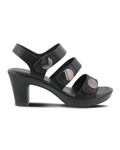 The Triodee triple strap sandal from Patrizia features fashion buttons, hook-and-loop adjustable straps and a cushioned footbed for an comfortable heel you can wear all-day. In New Orleans in Nola Foot Candy.