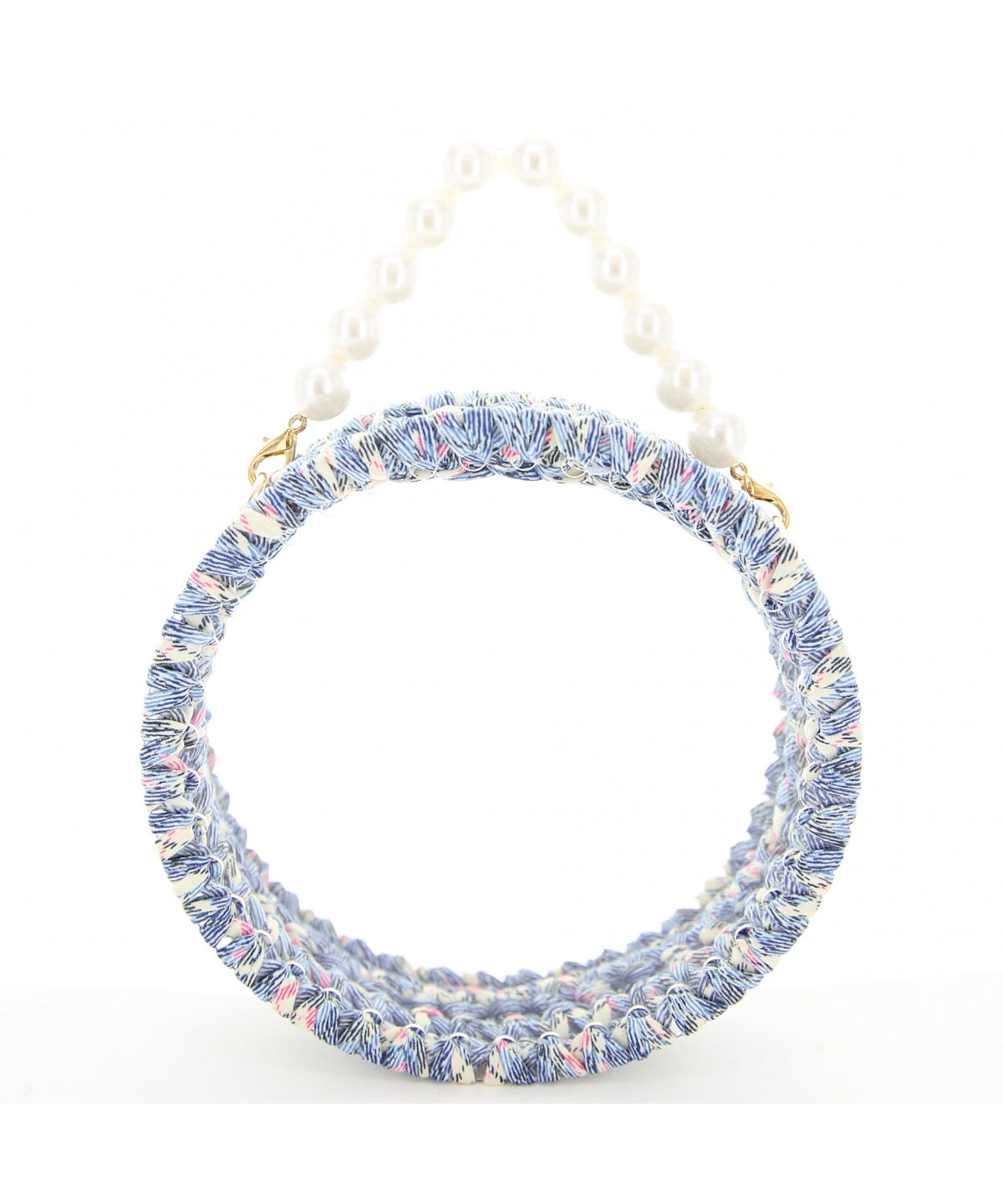 INS Pearl Handle Round Clear Woven Frame Bag H011