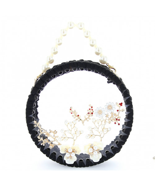 INS Pearl Handle Round Clear Woven Frame Bag H007
