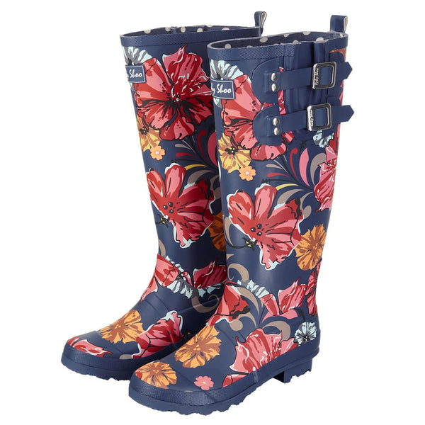 You'll be praying for rain so you can wear these stunning Esme wellies by Ruby Shoo!  These rain boots come in a navy rubber with a multi coloured floral print design. In New Orleans in Shoe Be Do.