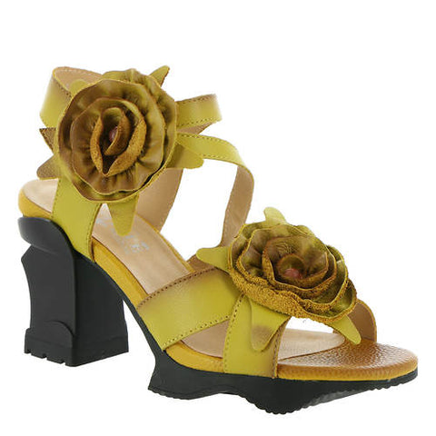 "A platform mid heel sandal. Hand-painted(yellow/Mustard) leather upper with leather flower embellishments. Hook-and-loop strap closure, a faux leather lining, comfort cushioned insole, and Rubber out-sole with flexible forefoot 3-1/4"" architectural block heel with 1"" platform. At Shoe Be Do in New Orleans,la."