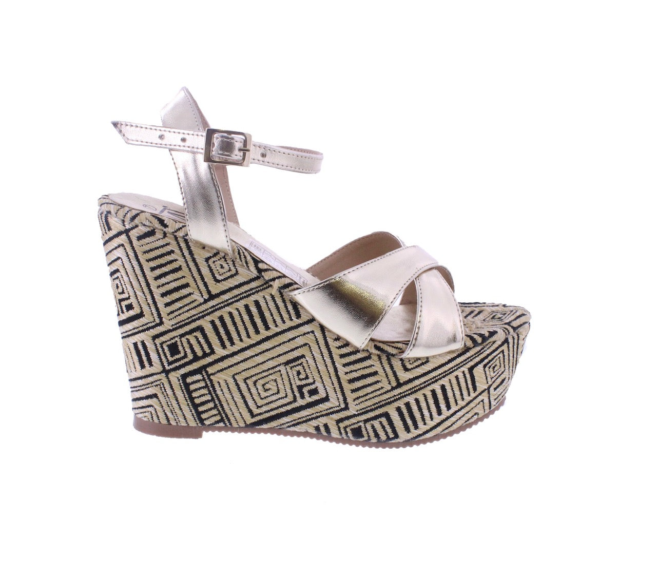 Perk up your footwear with these eye-catching jute, tribal print wedges dipped in metallic gold. that show off your fresh pedicure on warm-weather days. A buckle closure at the ankle ensures a comfortable, secure fit. In New Orleans at Shoe Be Do.