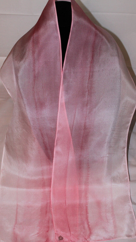 "pink ombre, hand-painted silk scarf, 8""x54"", girls"
