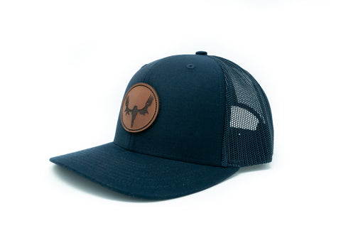 MeatEater Trucker Hat: Navy with Leather Patch