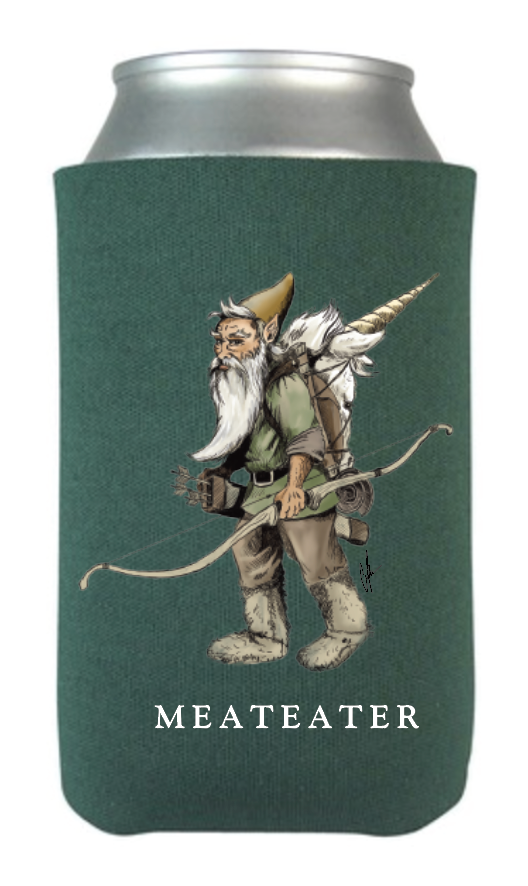 Gnome Packing out a Unicorn Koozie