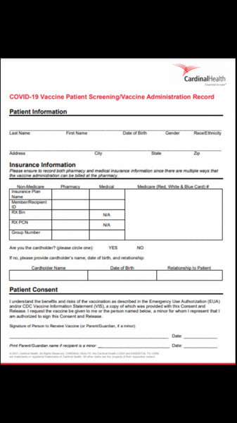 COVID-19 Vaccine Patient Screening/Vaccine Administration Record