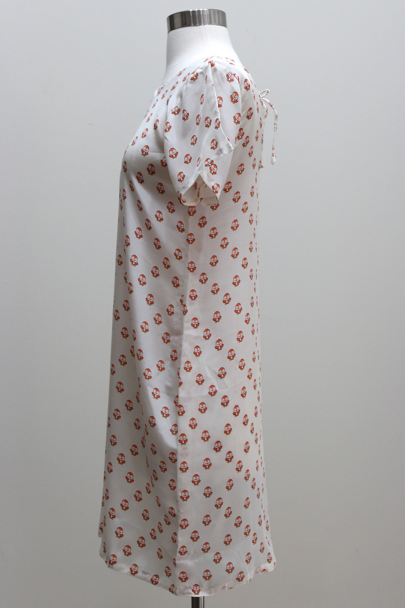 Silk Dress - Cute Bird Print