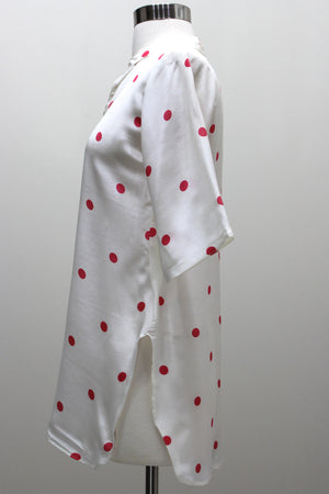 Silk Blouse Tunic - Polka Dots